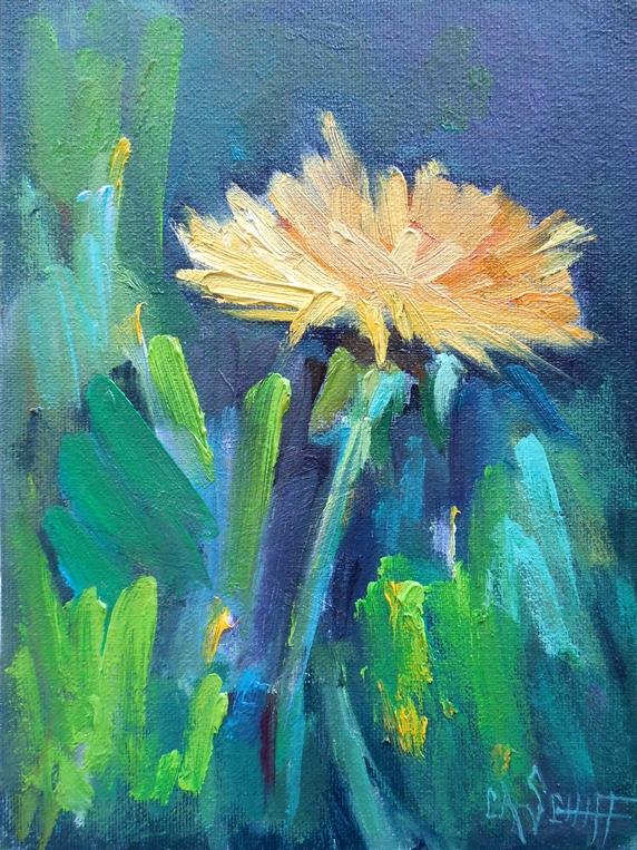 Carol Schiff Daily Painting Studio Dandelion Painting