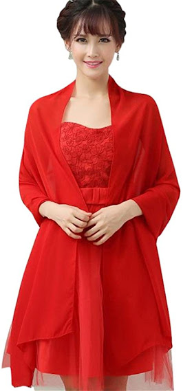 Long Red Sheer Soft Chiffon Scarves