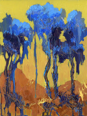 acrylic painting abstract blue tree