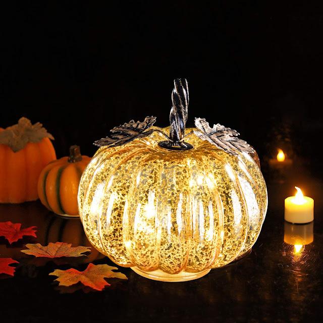 glass pumpkin light