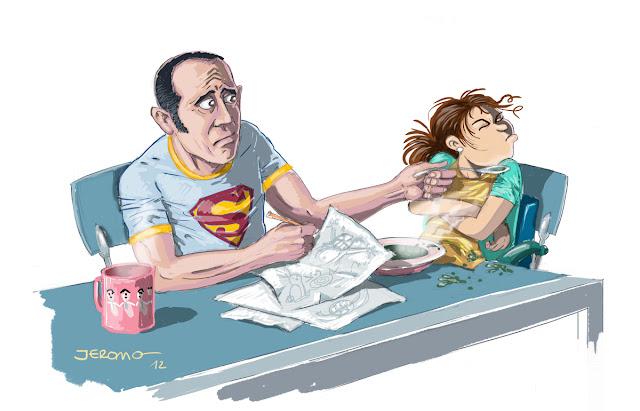 Padre intentando dar el puré a su hija
