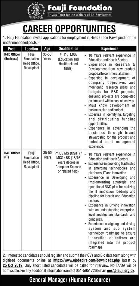 Fauji foundation Jobs 2019 for R&D Officers