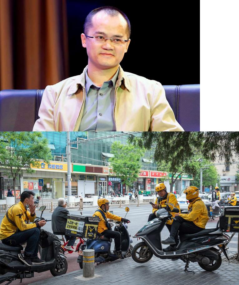 Vương Hưng và nhân viên công ty giao đồ ăn lớn nhất Trung quốc
