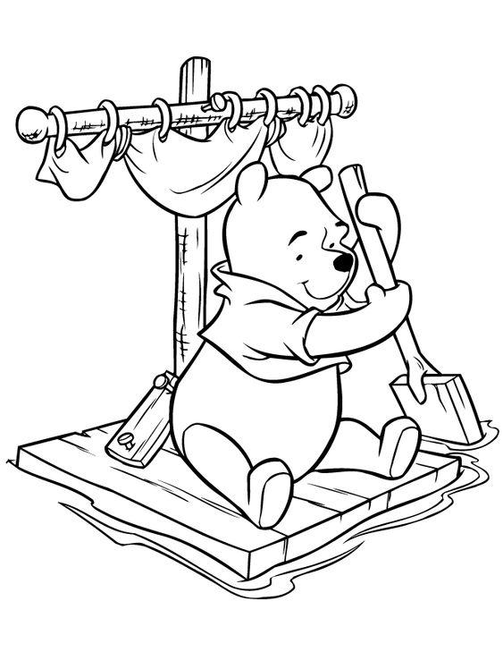 Tranh cho bé tô màu gấu Pooh 09