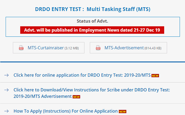 DRDO CEPTAM MTS Requirement_2020
