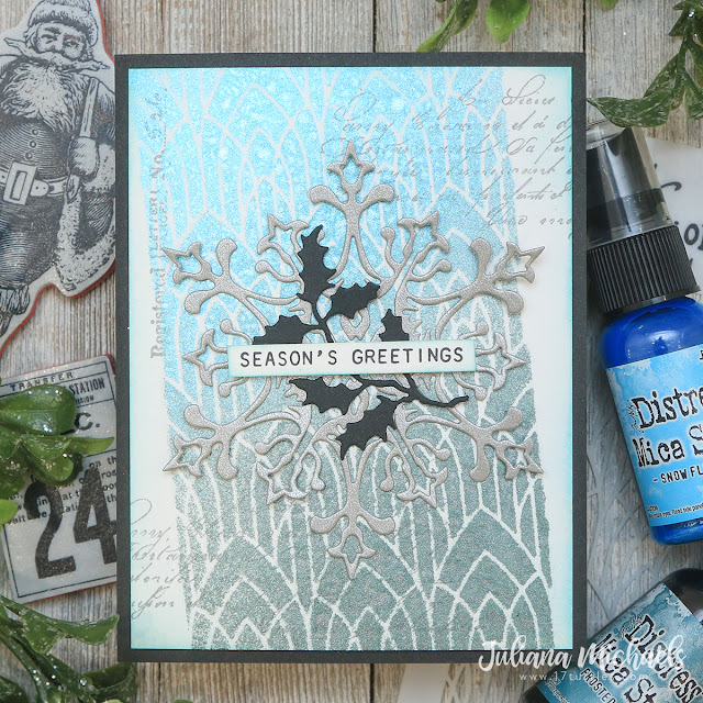 Season's Greetings Christmas Card by Juliana Michaels featuring the Tim Holtz Ranger Ink Distress Christmas Mica Stain
