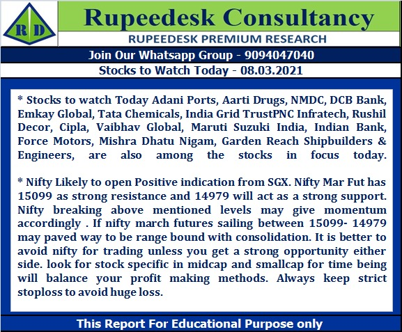 Stock to Watch Today - Rupeedesk Reports