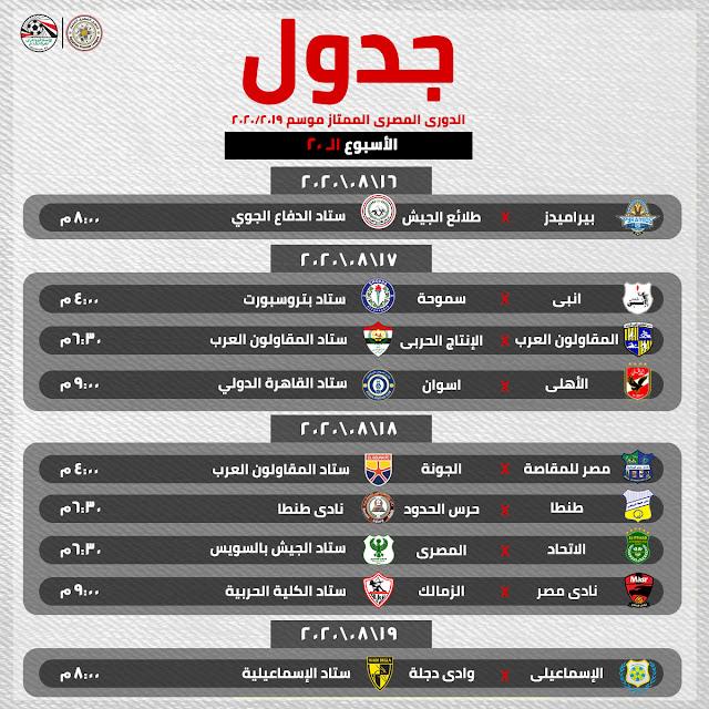 مباريات الأسبوع 20 من الدورى المصرى