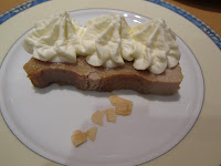 Menú de la Castanyada 2010.Pudin de castañas y escamas de coco caramelizado