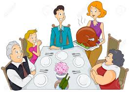 thanksgiving dinner table clipart
