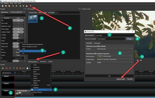eliminare audio da video con openshot