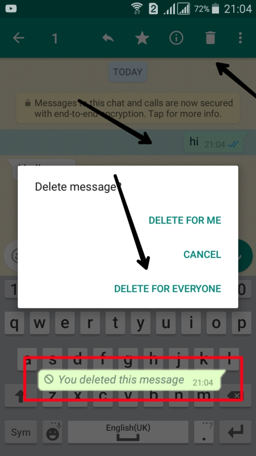 WhatsApp Sent Message Kaise Delete Kare #Delete For Everyone