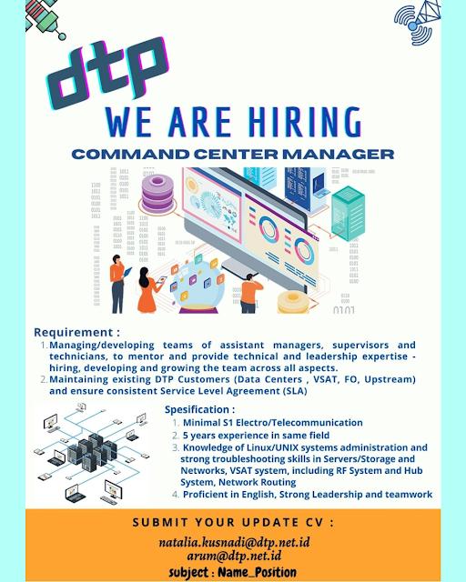 Lowongan Kerja Command Center Manager