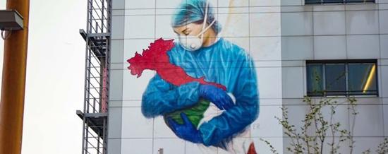 graffiti corona pahlawan kesehatan