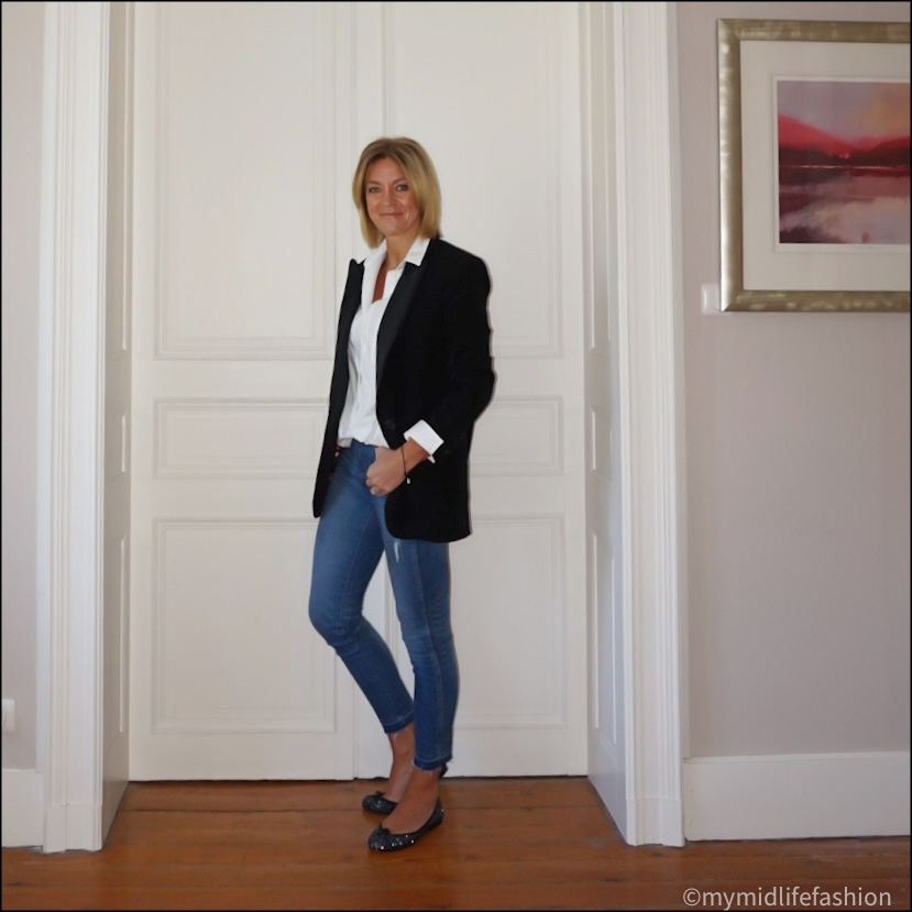 my midlife fashion, baukjen heather organic shirt, j crew 8  inch toothpick jeans, Isabel Marant oversized blazer, French sole Henrietta glitter ballet pumps