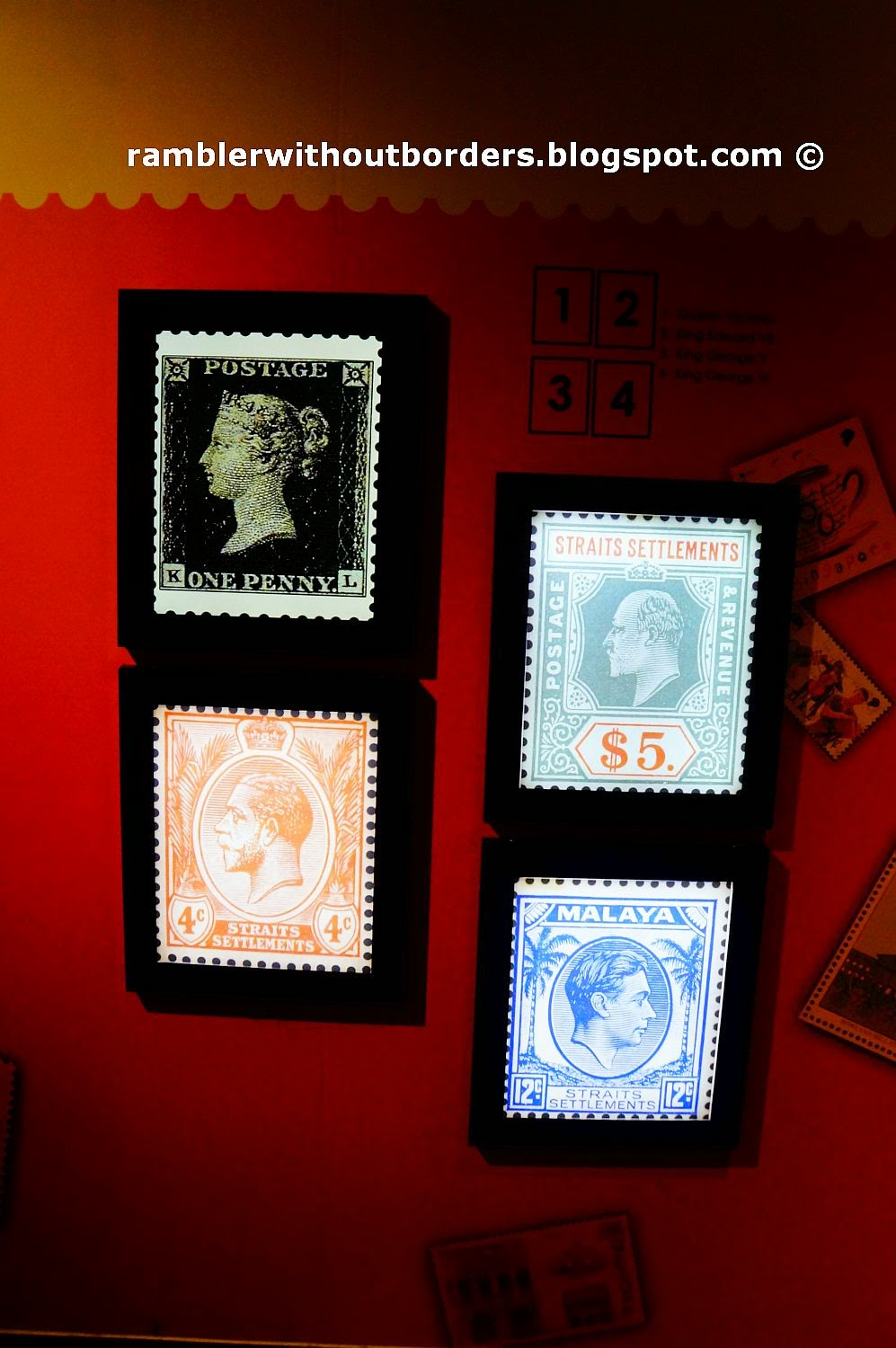 Early postage stamps showing British monarchs, Singapore Philatelic Museum