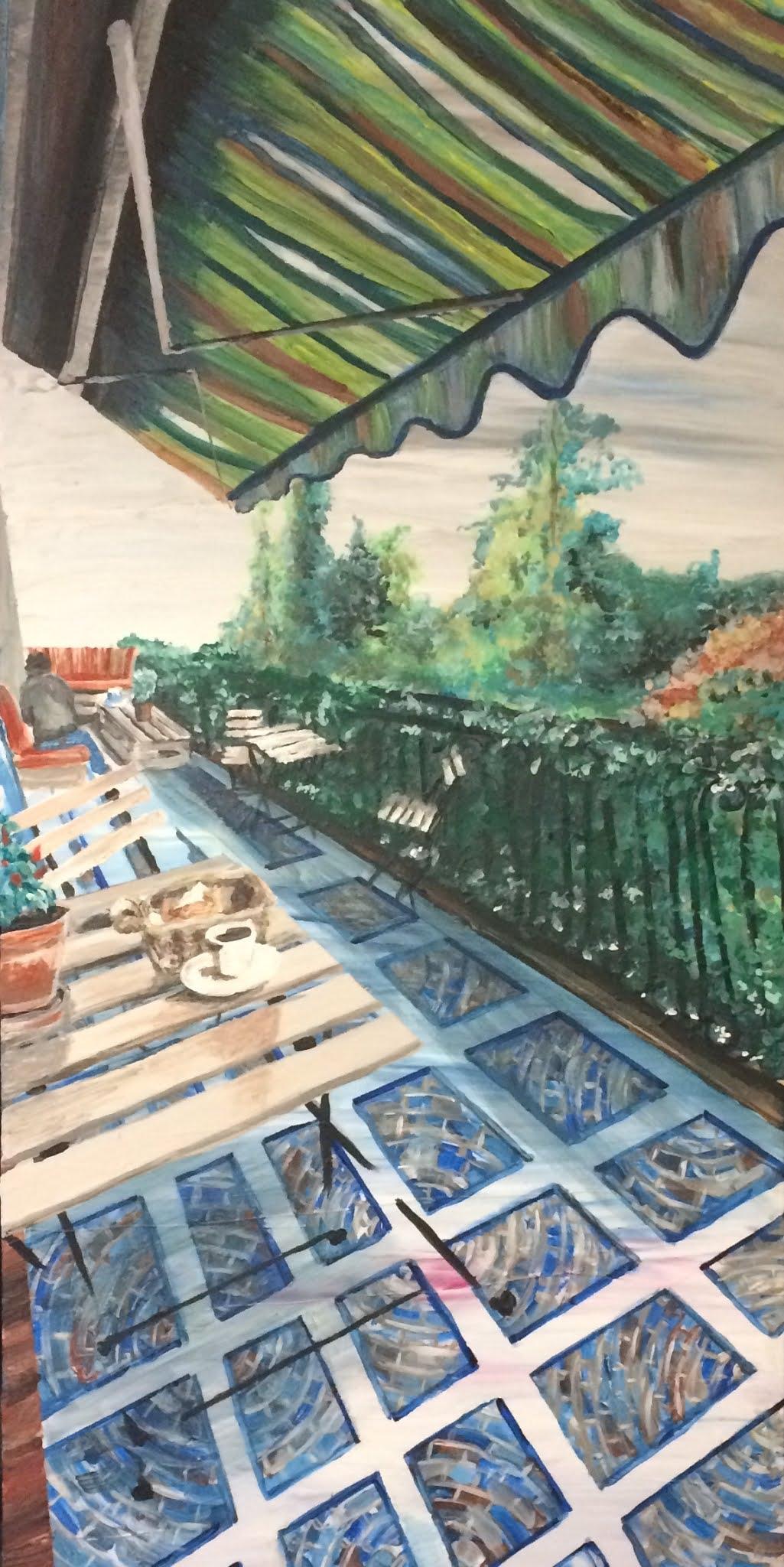 Karin eBabel peint le bar restaurant de Monsec vers Mareuil en Périgord lieu-dit Beauséjour