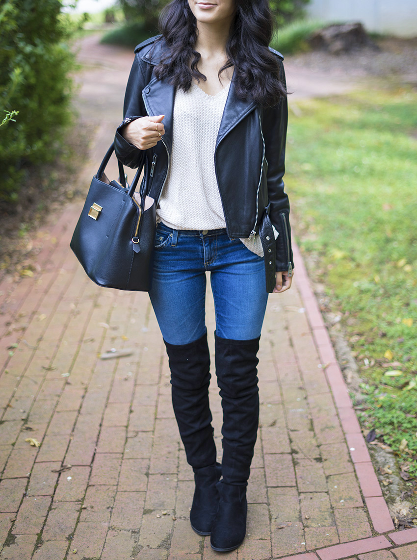 Over the Knee Boots Fall Outfits Leather Jacket, How to Style a Leather Jacket