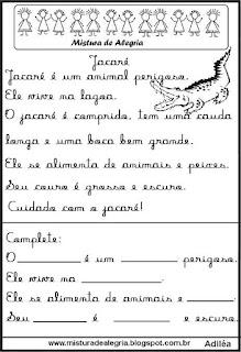 Pequenos textos para alfabetização com jacaré