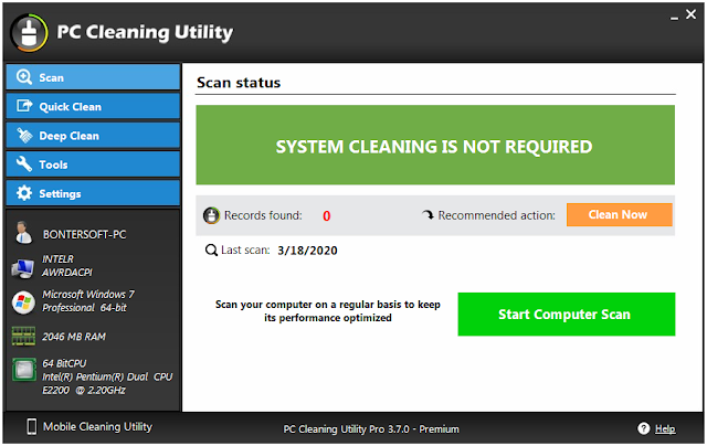 Screenshot PC Cleaning Utility Pro 3.7.0 Full Version