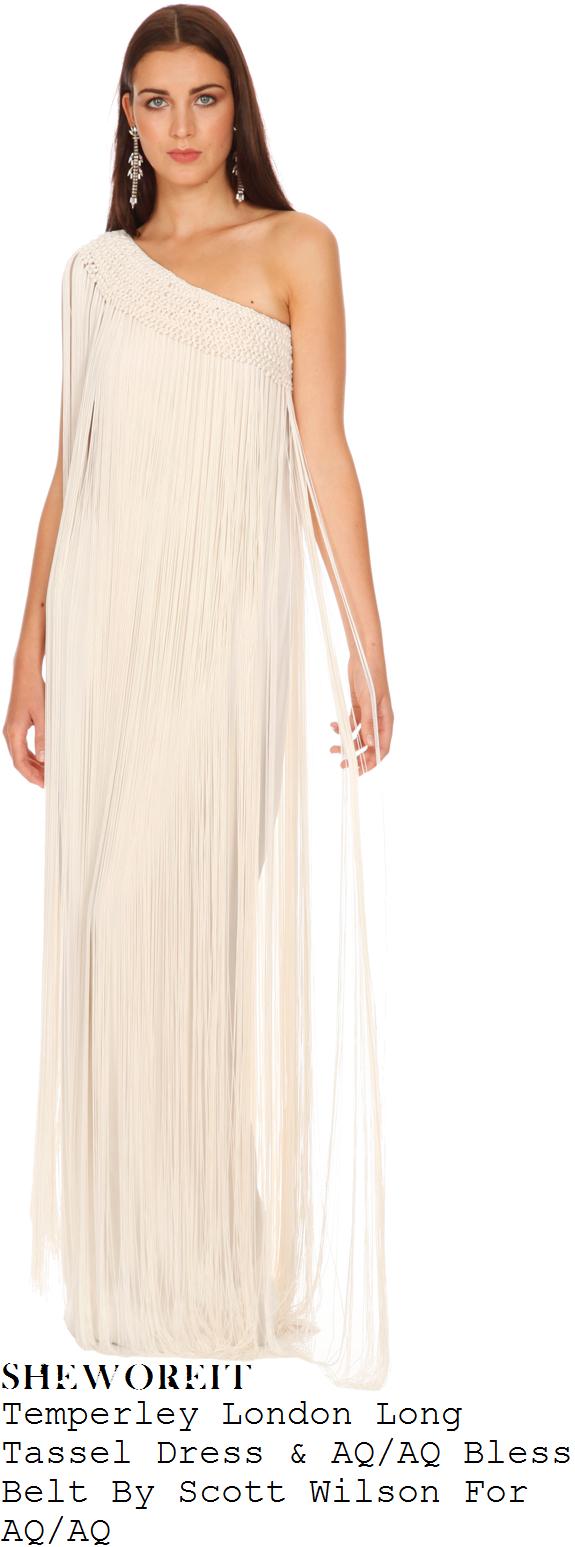66a2a995fd Tamera Foster's Temperley London Long Tassel White Asymmetric One Shoulder  All Over Tassel Fringed Silk Maxi Dress With Macrame Knot Crochet Effect  Detail ...
