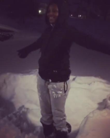 genevieve nnaji playing in the snow