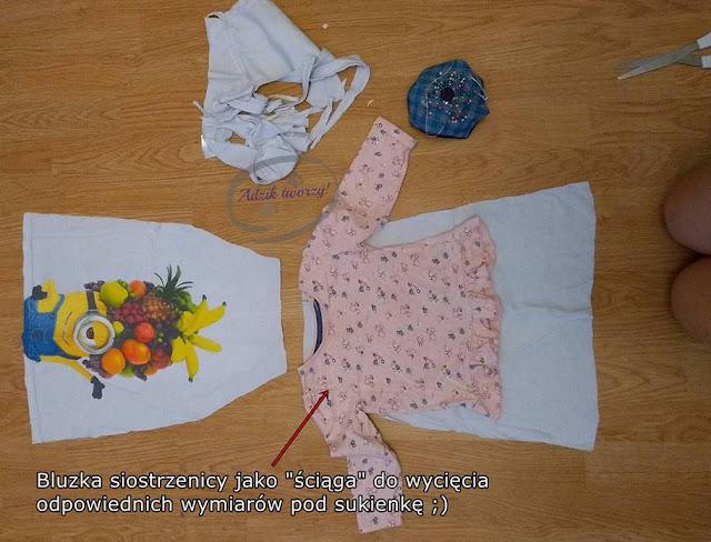 Sukienka dla dziewczynki DIY przeróbka bluzki - Adzik tworzy