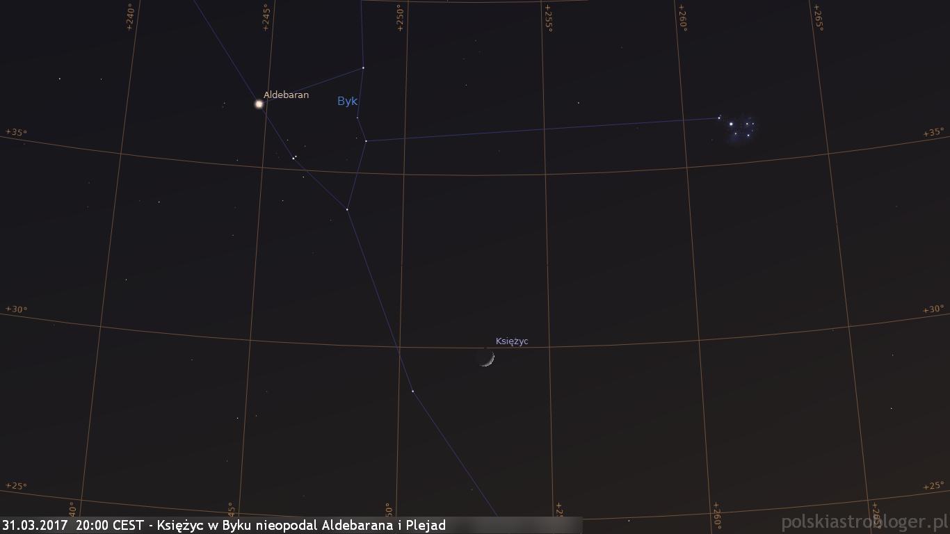 31.03.2017  20:00 CEST - Księżyc w Byku nieopodal Aldebarana i Plejad