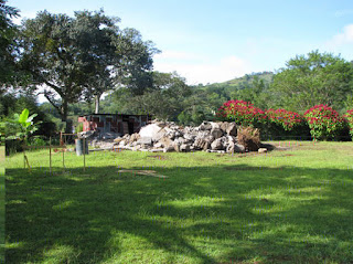 green grass and pile of rubble
