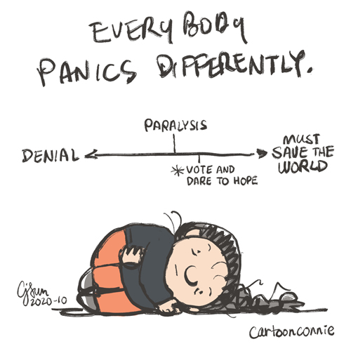 caption: everybody panics differently. cartoon drawing depicting panic on a scale from denial to save the world with paralysis and voting in between, sketchbook illustration by connie sun, cartoonconnie
