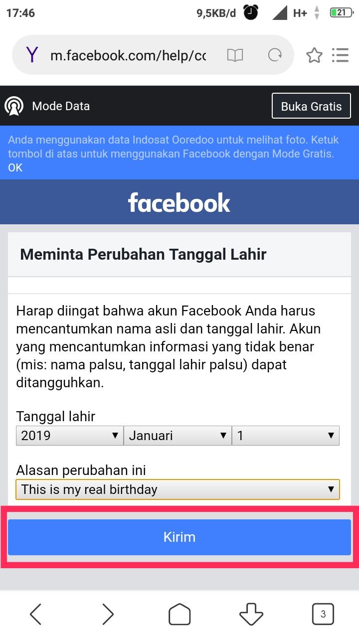 Tanggal Lahir Facebook yang sudah tidak bisa