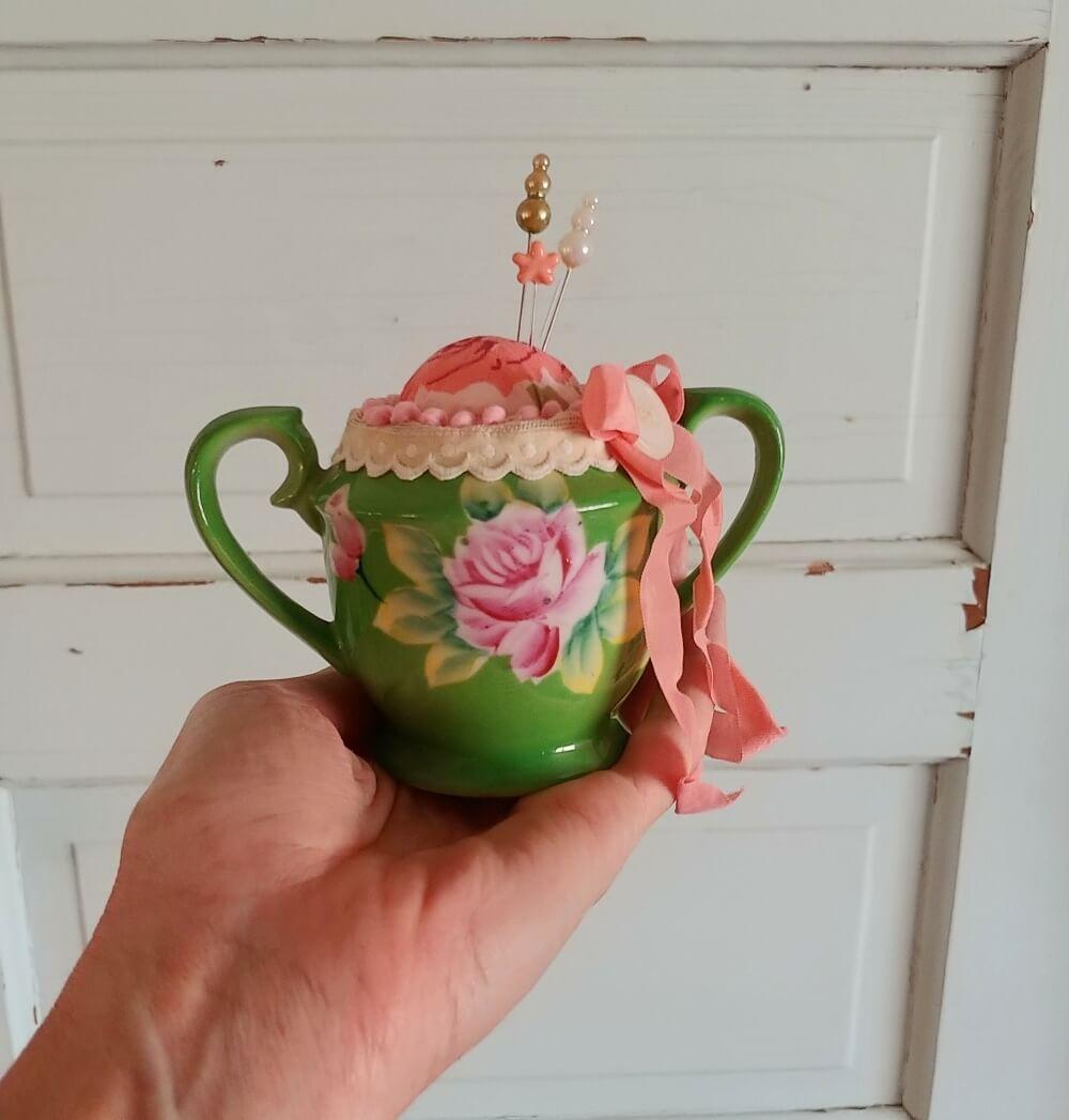 Upcycled Sugar Bowl Pincushion