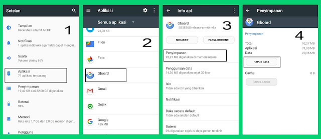 menghapus data aplikasi keyboard
