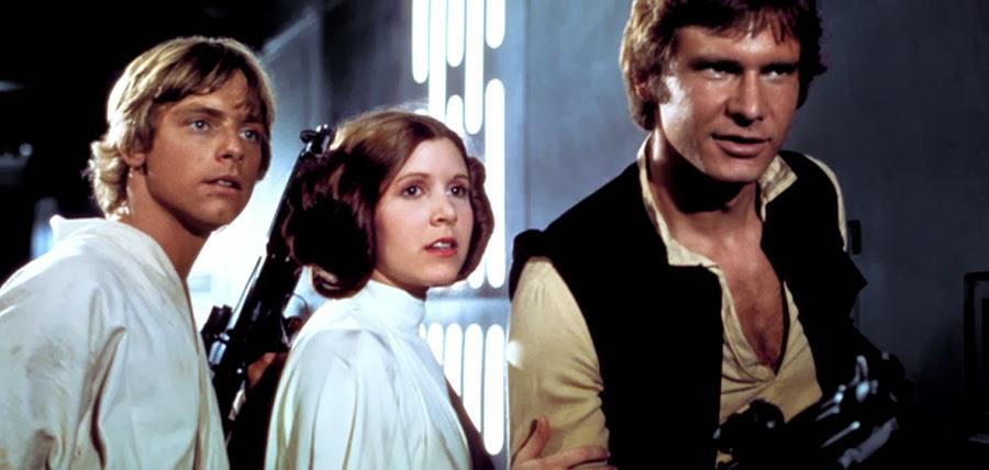 Luke Skywalker, Leia Organa şi Han Solo în Star Wars: A New Hope