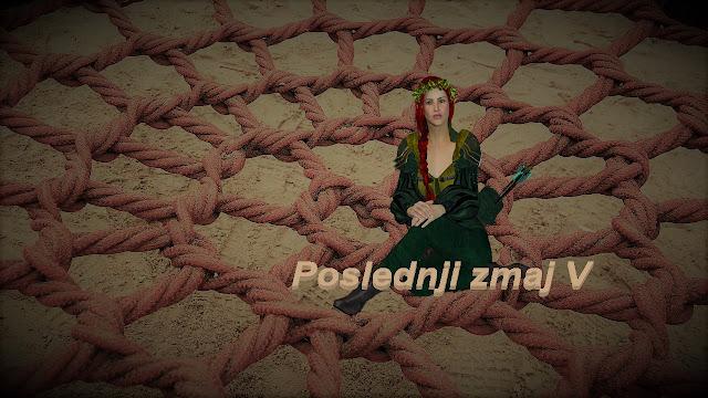 Devojka ratnica vilenjak sedi na mreži za hvatanje Zmaja - Poslednji zmaj 5