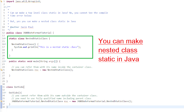 nested static class in Java