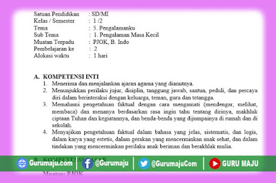 RPP Kelas 1 Tema 5 Kurikulum 2013 Revisi Tahun 2019