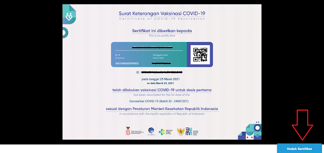 Cara Cek dan Download Sertifikat Vaksin Pertama dan Vaksin Kedua melalui Peduli Lindungi