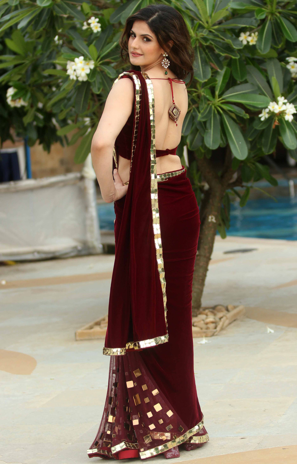 Zarine Khan Hot Photos In Red Saree At Indian Wedding -7457