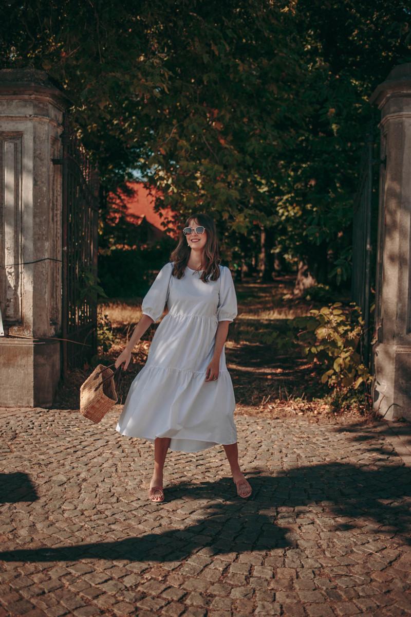 white peasant midi dress