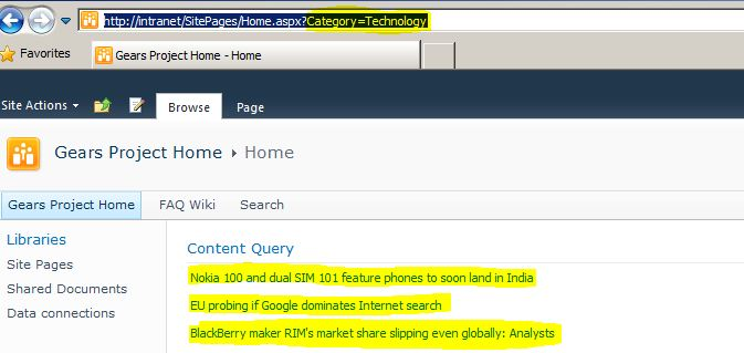Sharepoint Content By Query Webpart Pagequerystring And