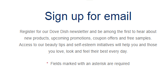 Dove sign up screenshot for samples and promotions