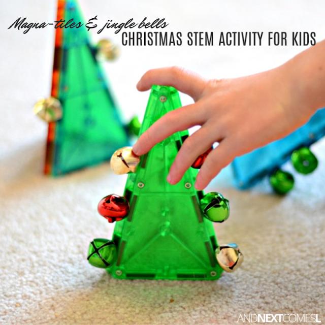 Simple Christmas STEM activity for kids using Manga-Tiles & jingle bells