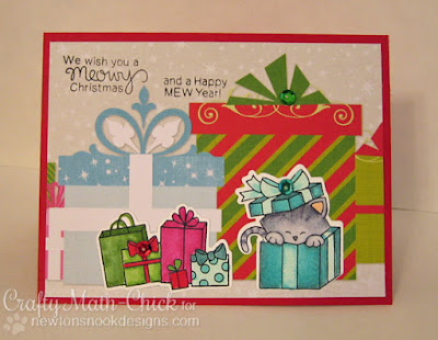 Newton kitty peeking from gift box card by Crafty Math Chick | Newton's Christmas Cuddles by Newton's Nook Designs