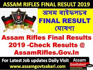 Assam Rifles Final Results 2019