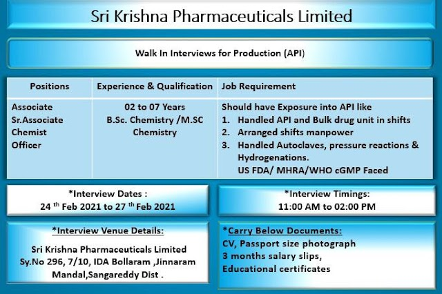 Sri Krishna Pharma | Walk-in  for freshers and Expd on 26&27th Feb 2021