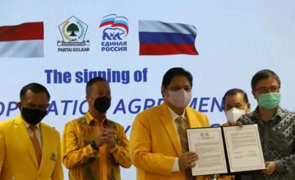 Partai Rusia Bersatu Tandatangani Nota Kerjasama dengan Partai Golkar di Jakarta