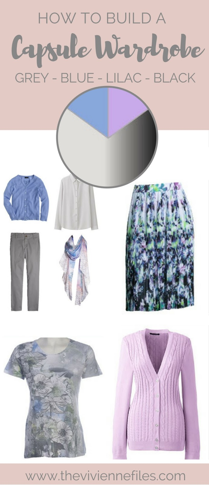 how to build a capsule wardrobe in grey blue lilac and. Black Bedroom Furniture Sets. Home Design Ideas