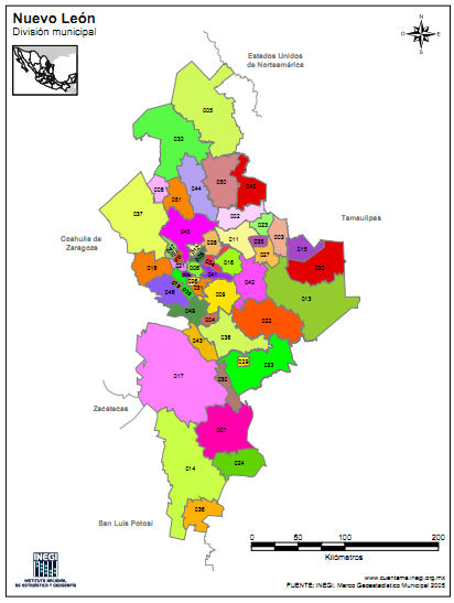 Map of Municipalities of Nuevo Leon Mexico We Are Cousins