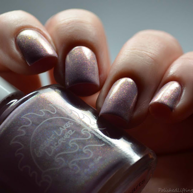 pink holo nail polish with aurora shimmer